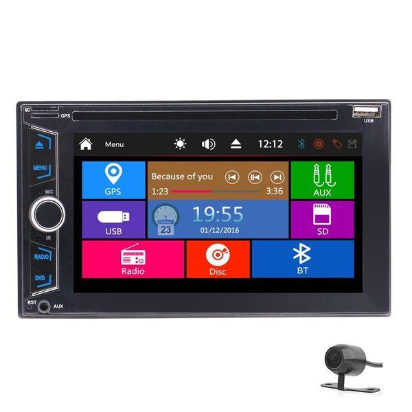 EinCar 6.2 '' Reproductor de DVD para coche, doble, doble y universal Autoradio GPS Navi Radio estéreo FM AM Bluetooth AUX USB RDS + IR Control remoto + Cámara trasera