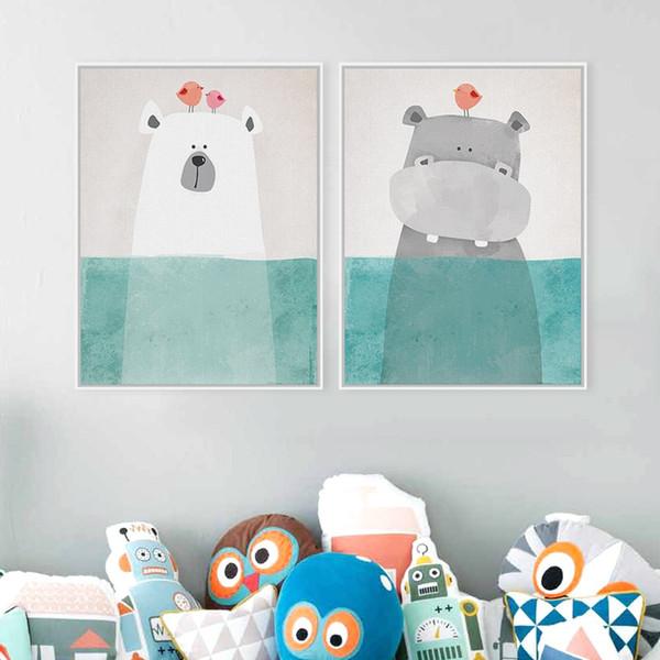 Printed Picture Wall Painting Canvas Children's Room Decor Poster Unframed Nordic Kawaii Bear Hippo Bird Animal Cartoon Comic