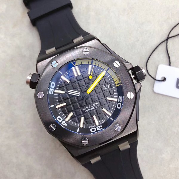 Venta caliente Gratis Limitado Royal Oak Offshore forjado Diver de carbono Relojes mecánicos automáticos PVD Reloj Negro Caucho 42mm 15706 Reloj de pulsera para hombre