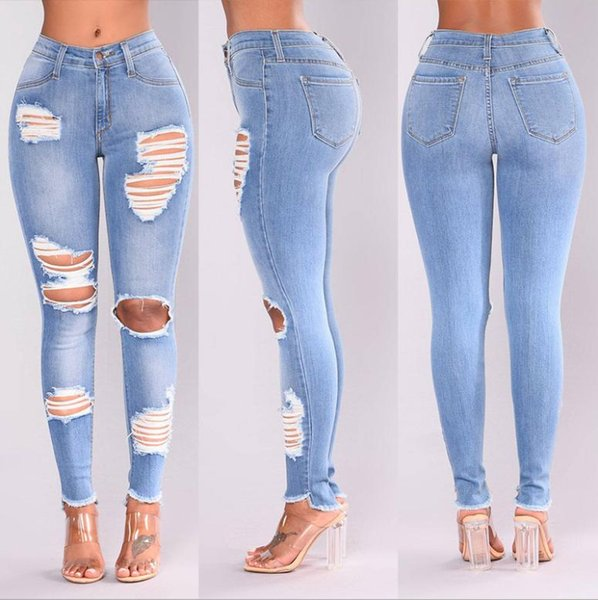 really cheap shop for authentic latest collection 2019 2018 Ladies Stretch Ripped Sexy Skinny Jeans Womens High Waisted Slim  Fit Denim Pants Slim Denim Straight Biker Skinny Ripped Jeans Blue From ...