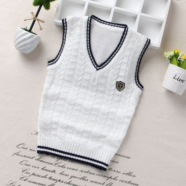 08ddaacd Fashion style Kids boys pullover knitted vest coat Boys Crochet Cotton vest  Children top quality sleeveless sweaters