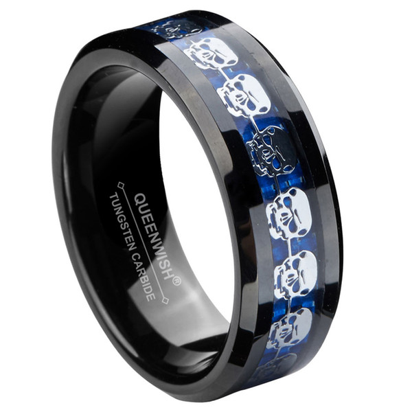 8mm Black Tungsten Carbide Ring Silver Skull Ring Inlay Fancy Engagement Rings Black Friday Gifts