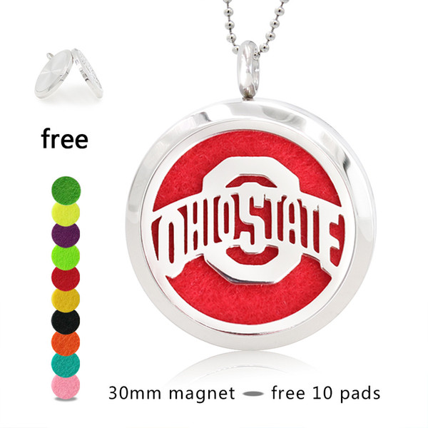 Hand Stamped OHIO STATE Perfume Necklace 25/30mm Magnetic 316 Stainless Steel Essential Oil Diffuser Lockets Pendant Necklace