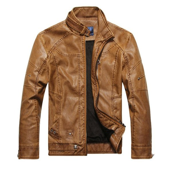 2018 mens Leather jacket spring and autumn Short design stand collar motorcycle faux Leather Coats plus