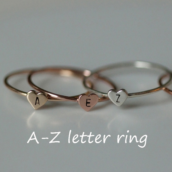 top popular Simple Gold Heart Dainty Name Letters Pattern Rings Popular Gold Silver Letter Carved Meaningful Initial Finger Ring Women Jewelry Gift 2020