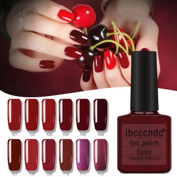 Ibcccndc Brand 10ml Red Series Nude Color Long Lasting Uv Gel Polish Nails Art Manicure Soak Off Varnish 12 Colors Beauty Women