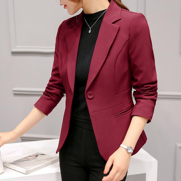 2018 neue Frauen Klassische Mode Slim Blazer Kerb Kragen Langarm Single Button Büro Dame Casual Mantel Plus Größe S-XXL