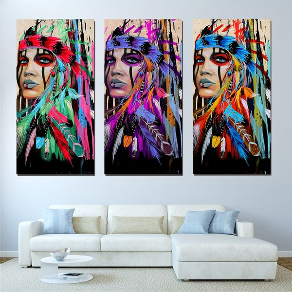 Art Pictures Living Room HD Printed Painting 3 Panel Native American Indian Feather Home Decoration Posters Modern Wall Art