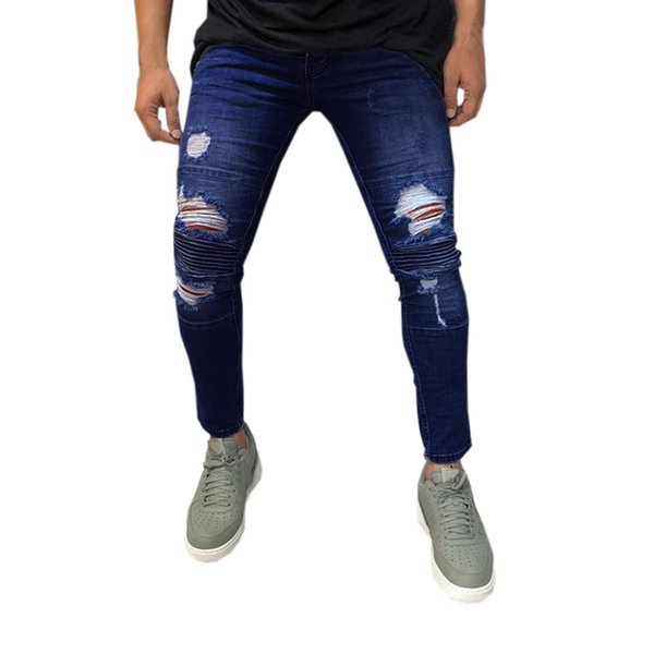 Sunfree Hot Selling Free shipping Men jeans para hombre New Trend Full Length Solid Pencil Pants Fashion Casual Jeans 3L55