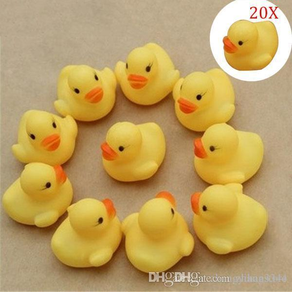 Wholesale- 20Pcs/set Duck Child Bath Toys Squeaky Ducky Baby Toys Cute Rubber Ducks Children Kids Water Playing Toy @Z152