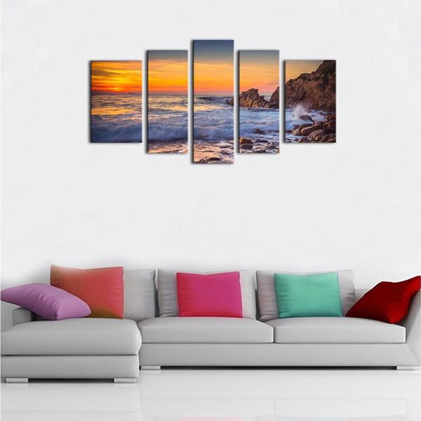 5 Pannelli Canvas Wall Art Modern Seascape Painting Tramonto Sea View Picture Stampa su tela Allungato e incorniciato opere d'arte per la decorazione domestica