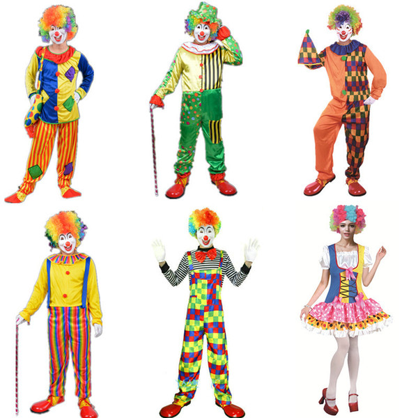 Adult Funny Circus Clown Costumes Unisex New Arrival Men Women Halloween Costumes Full Set Cosplay Costumes