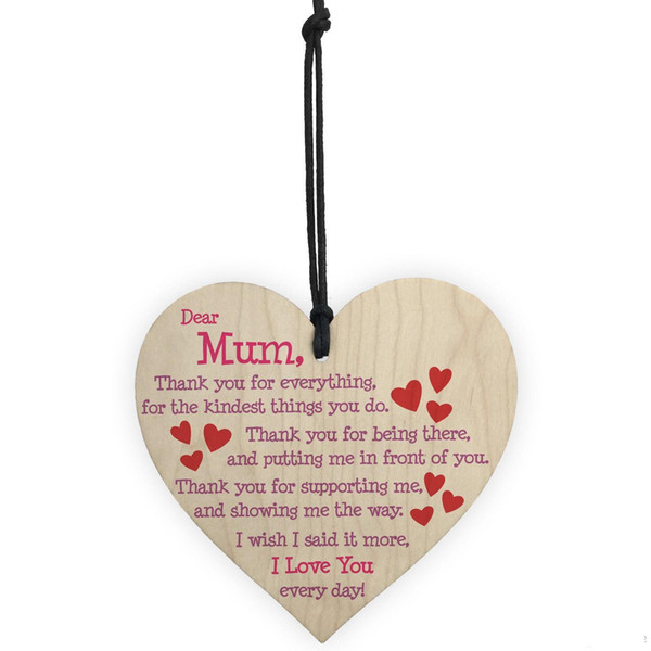 Mothers Day Party Pendant Decoration Carving Heart Shape Pendants For Home Decor English Letter Mini Wooden Ornament Brown