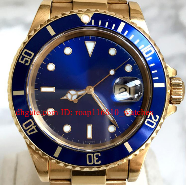 High quality Watcshes blue Ceramic Bezel 40MM blue Dial 116613 18K Golden Stainless Steel Mechanical automatic Mens Watche