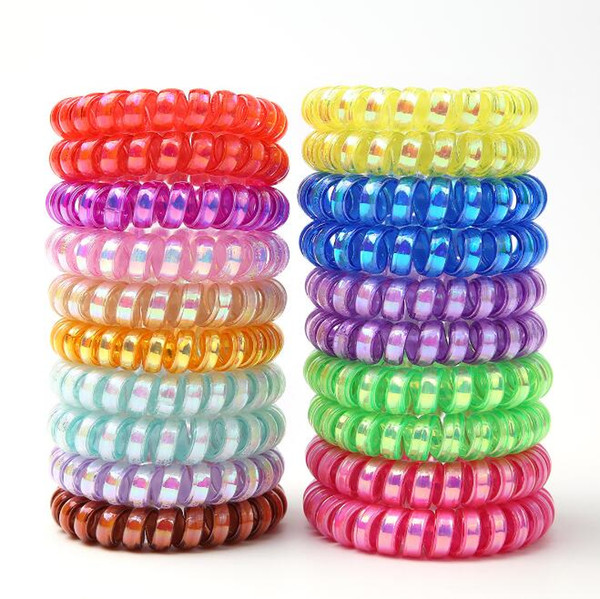 top popular PinkycolorTelephone Wire Cord Headbands for Women Elastic Hair Bands Rubber Ropes Hair Ring Girls Hair Accessories Wholesale 2021
