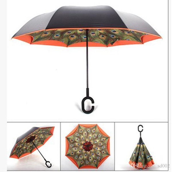 Inverted Umbrellas Creative Portable Double Deck Folding Peacock Umbrella Ultraviolet Proof Multi Colors For Lady Gift 48 gd ii