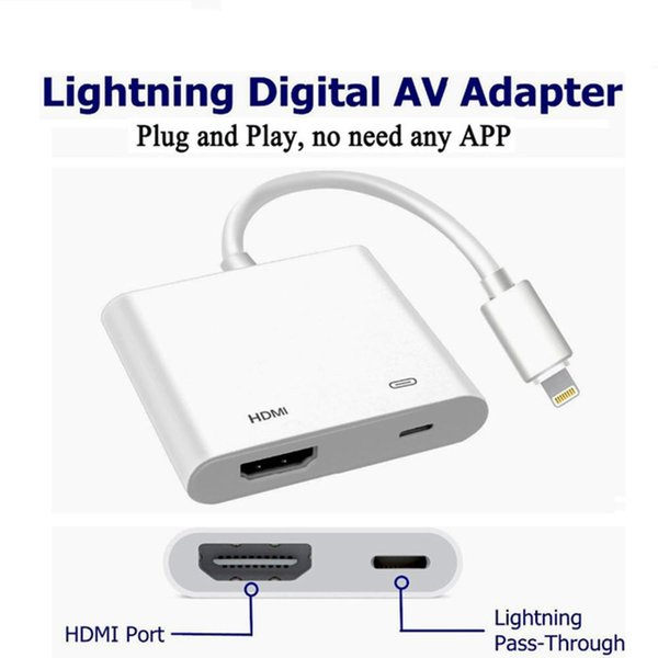 Cell Phone Adapter For Lightn--- to Digital AV HDMI 4K USB Cable Connector Up To 1080P HD For Iphone 8/8p/5/6/6s/7/7P/Ipad Air/Ipod