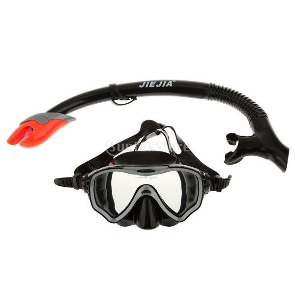 Erwachsene Schwimmen Tauchen Schnorcheln Maske Brille PVC Silikagel Gehärtet Gläser und Schnorchel Set