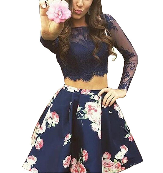 Bonnie Lace Bodice Homecoming Dresses 2019 Short Two Piece Floral Print Prom Party Dress Long Sleeves