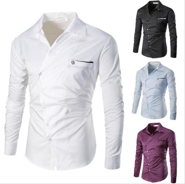 Camicia da uomo a collo singolo in rilievo con scollo a V, collo basso, manica lunga, maniche lunghe con pannelli, design europeo, t-shirt da uomo