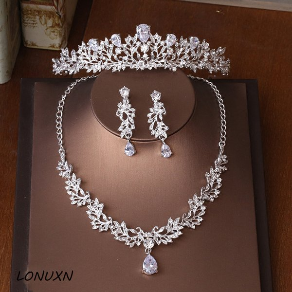 whole saleHigh-quality new bride crown tiara three-piece zircon necklace earrings princess birthday wedding with female accessories gift