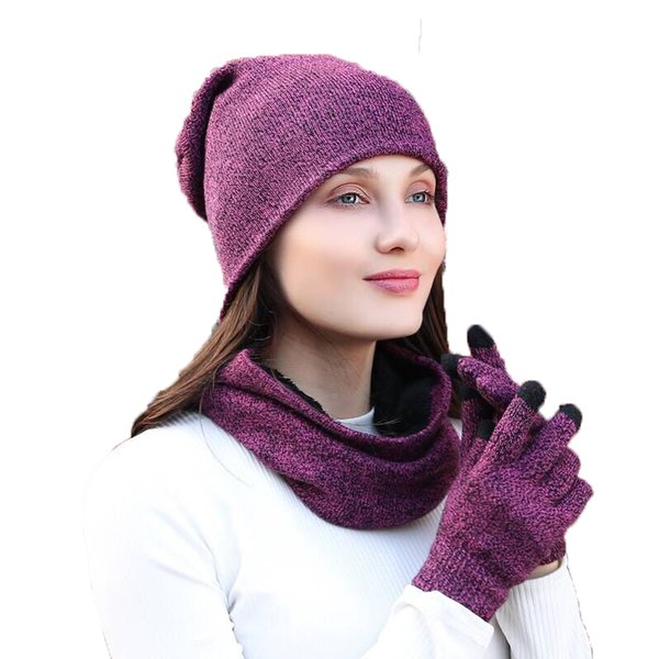3 Pcs/Set Fashion Winter Hats Scarf Gloves For Women Men Thick Cotton Winter Accessories Set Female Male Beanie Scarf Gloves