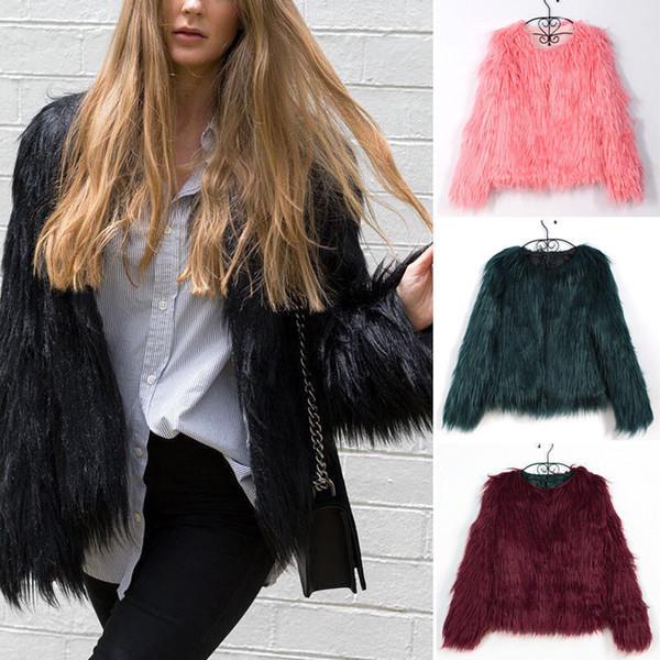 Kürklü Kürk Kadın Kabarık Sıcak Uzun Kollu Kadın Giyim Sonbahar Kış Ceket Ceket Tüylü Yakasız Palto