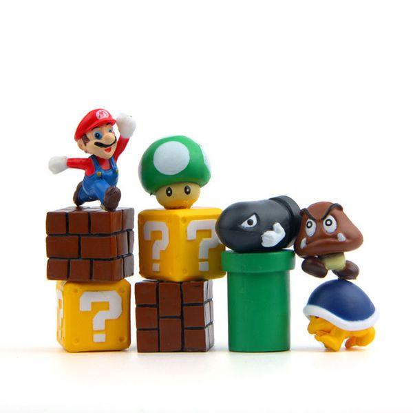 10pcs/set Mini Super Mario Bros Figure Mario Bullet Mushroom Tortoise Wall Well PVC Action Figure Model Toys DIY Decoration Gift B001