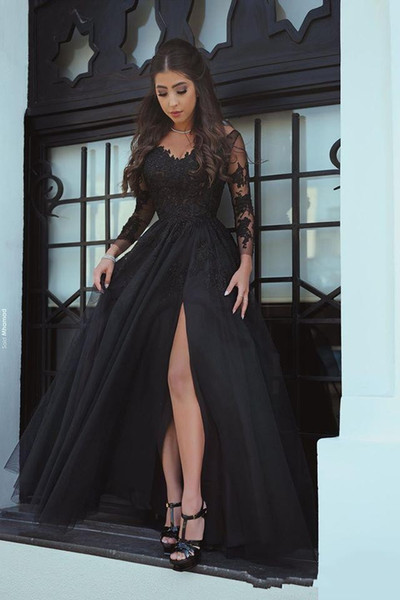 Modest Black Prom Dresse Lace Applique Beaded Formal Split Evening Dress Fashion Design Party Gowns Custom Made