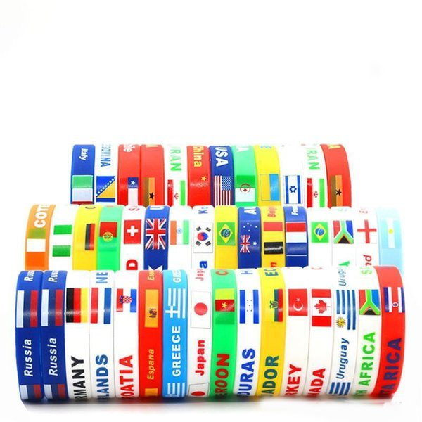 2018 Wristband National Flag Printing Bracelet Eco Friendly Silicone Bracelet Creative World Cup Design Bangle For Fans Best Gifts 1ds ZZ