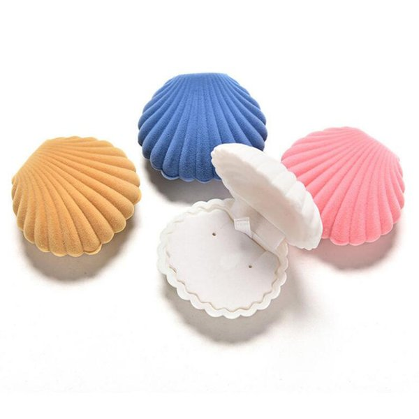 4pcs Elegant Shell Shape Velvet Ring Box Pendant Locket Jewelry Container Case New Jewelry Packaging & Display