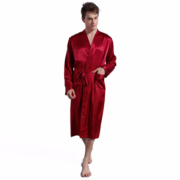 Männer Silk Satin Pyjamas Nachtwäsche Robe Roben Nachthemd Roben S M L XL 2XL Plus Grau / Blau / Burgund / schwarz Männlich Sommer Robe