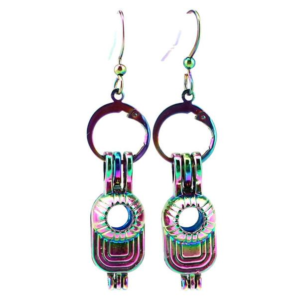 Z621 Regenbogen-Farben-nette Hut-Schönheits-Perlen-Käfig-Ohrring-Haken mit 8mm Plastik bördelt das Geschenk des Mädchens