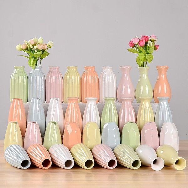 Ceramics Small Vase Fresh Hydroponics Glass Transparent Vases Living Room Bedroom Dry Flowers Bottle Home Furnishing 2 5hy gg
