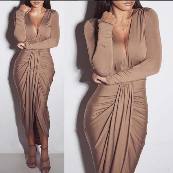 Neue Ankunfts-Frühling-europäische und amerikanische Art und Weise tiefer V-Ansatz reizvoller Nachtclubdamen elegantes faltendes Kleid unregelmäßiges Kleid