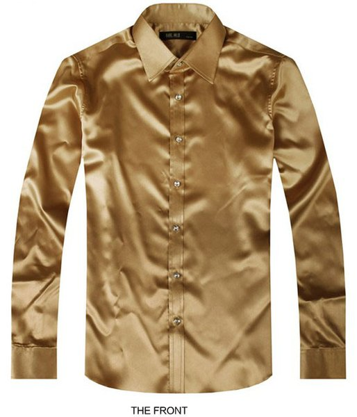 2017 Golden Luxury the groom shirt male long sleeve wedding shirt men's party Artificial silk dress M-3XL 21 colors FZS19