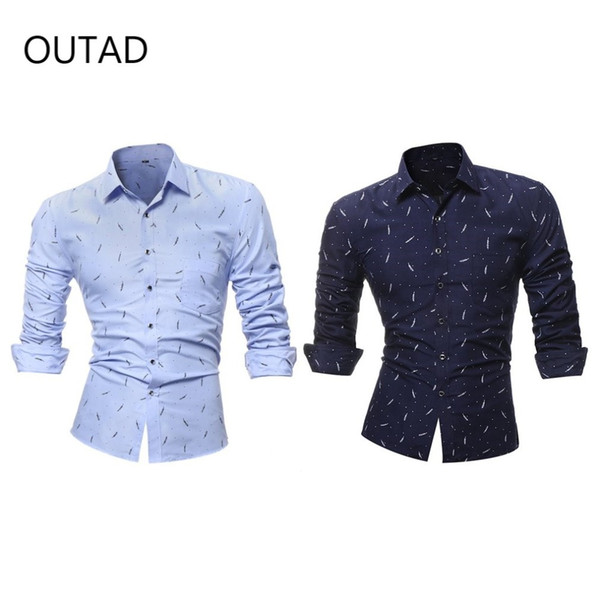 New Fashion Single Breasted Painted Long Sleeved Shirt For Men Male Tops Turn Down Collar Formal Suit Business Clothes Shirt