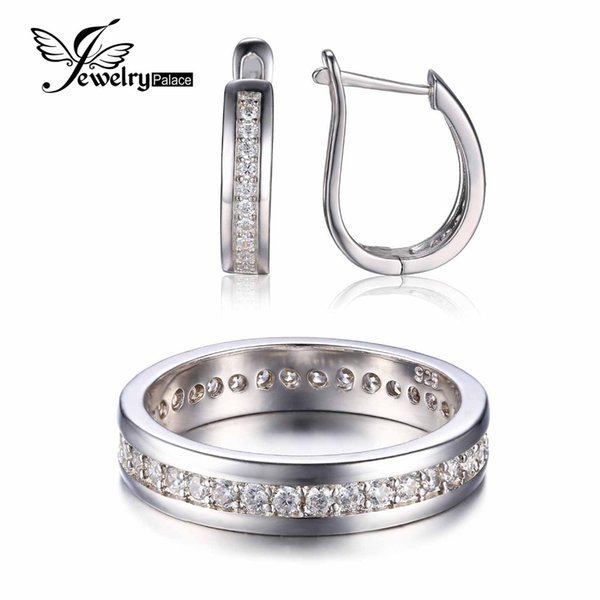JewelryPalace Anniversary Engagement Wedding Jewelry Set Genuine 925 Sterling Silver Band Ring Earring Bridal  Jewelry Set
