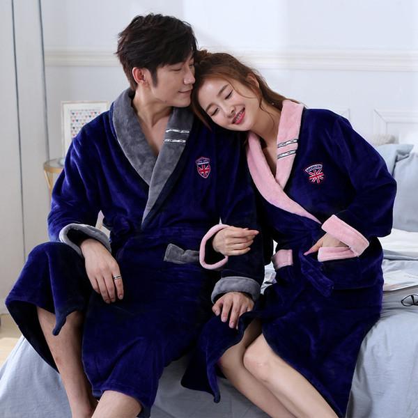 Inverno Mens Robes Flanela Longo Robe De Malha De Coral Velo Roupão Grosso Sleepwear Nightwear NightGowns Quentes