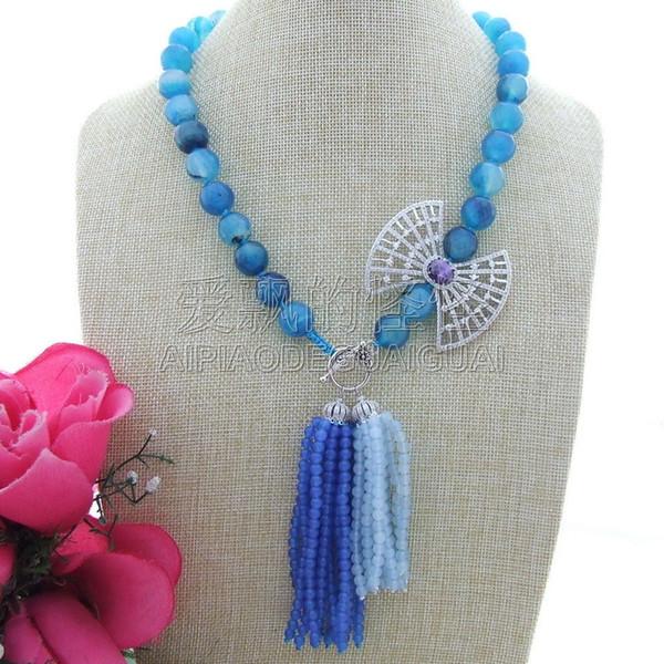 "N013039 21"" 14mm Blue Faceted Gems Stone CZ Pendant Necklace"