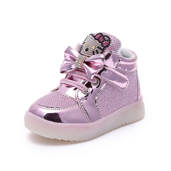 2018 Cartoon hello kitty baby girls lights shoes LED glowing infant casual shoes short boots kids sports princess