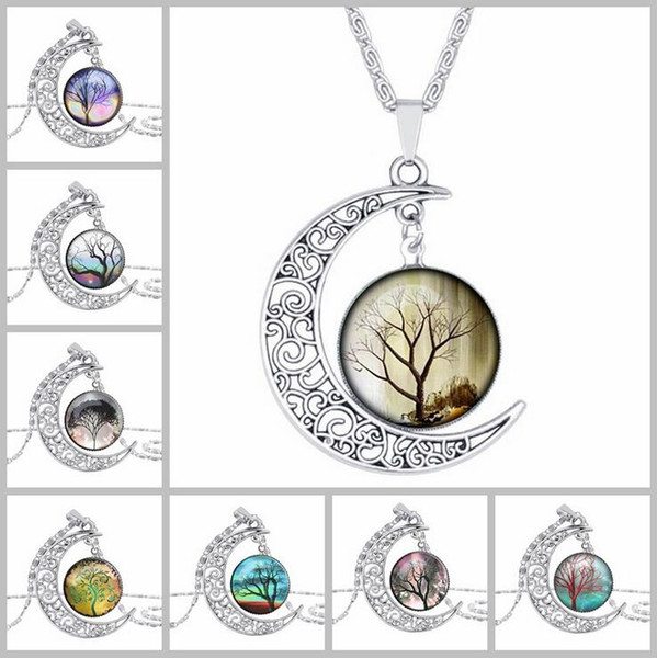 Moda trafitto Carving Moon Pendant Necklace Ciondola Tree of Life Charms argento antico placcato collane per le donne gioielli regalo