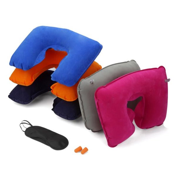 best selling Travel Set 3PCS U-Shaped Inflatable Travel Pillow Eye Cover Earplugs Neck Rest U Shaped Neck Pillow Air Cushion