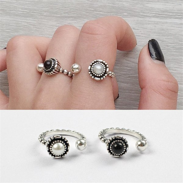 2 Designs U Choose 100% 925 Sterling Silver Jewelry Classic Black Agate And Pearl Ring Open Size Rings for Women Gifts