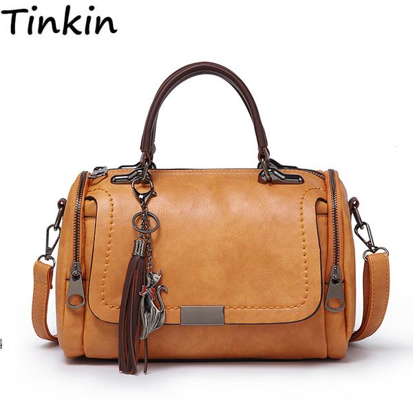 Cheap Tinkin Large capacity PU leather women bag travel bag Bags Cheap Shoulder Bags