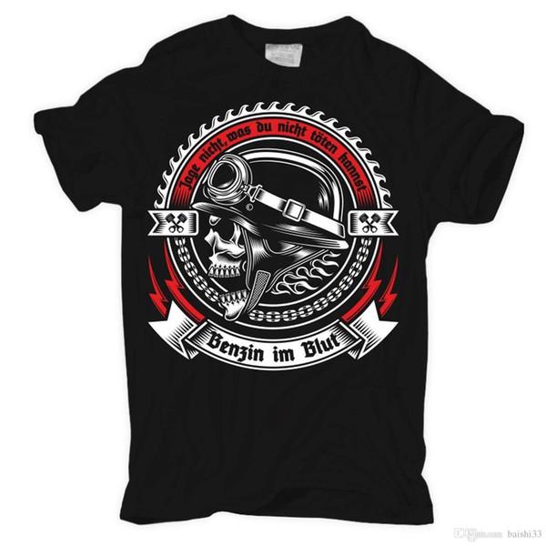 Herren T-Shirt Benzin Im Blut Motorrad Bicicletas Motociclista Rocker Engraçado Roupas Casuais de Manga Curta Camisetas Retro Top Tee