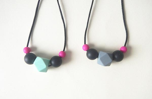 Child Silicone Teething Necklace Simple Chew Beads Hexagon Pendant Necklace Safe Silicone Kids Toddlers Dress up Jewelry Necklace