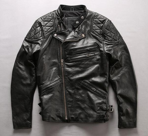 Großhandel Schwarze Männer Echte Lederjacken Rennmotorradjacke Schädelkopf Zurück Lederjacke Mit Ykk Reißverschluss Von Qltrade_16, $292.39 Auf