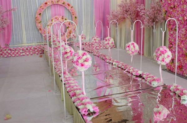 2PCS Adjustable height Iron flower ball /lantern Flower Rack Hook up Wedding Road Lead Centerpiece For Event Party Decoration