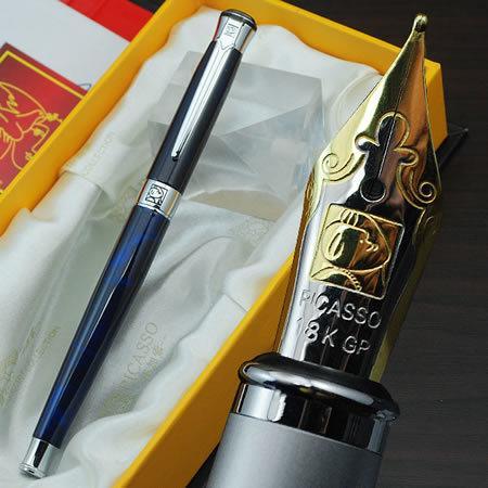 Envío libre al por mayor suministros de oficina de la escuela pluma Picasso lujo azul plata M punta pluma pluma escritura de alta calidad